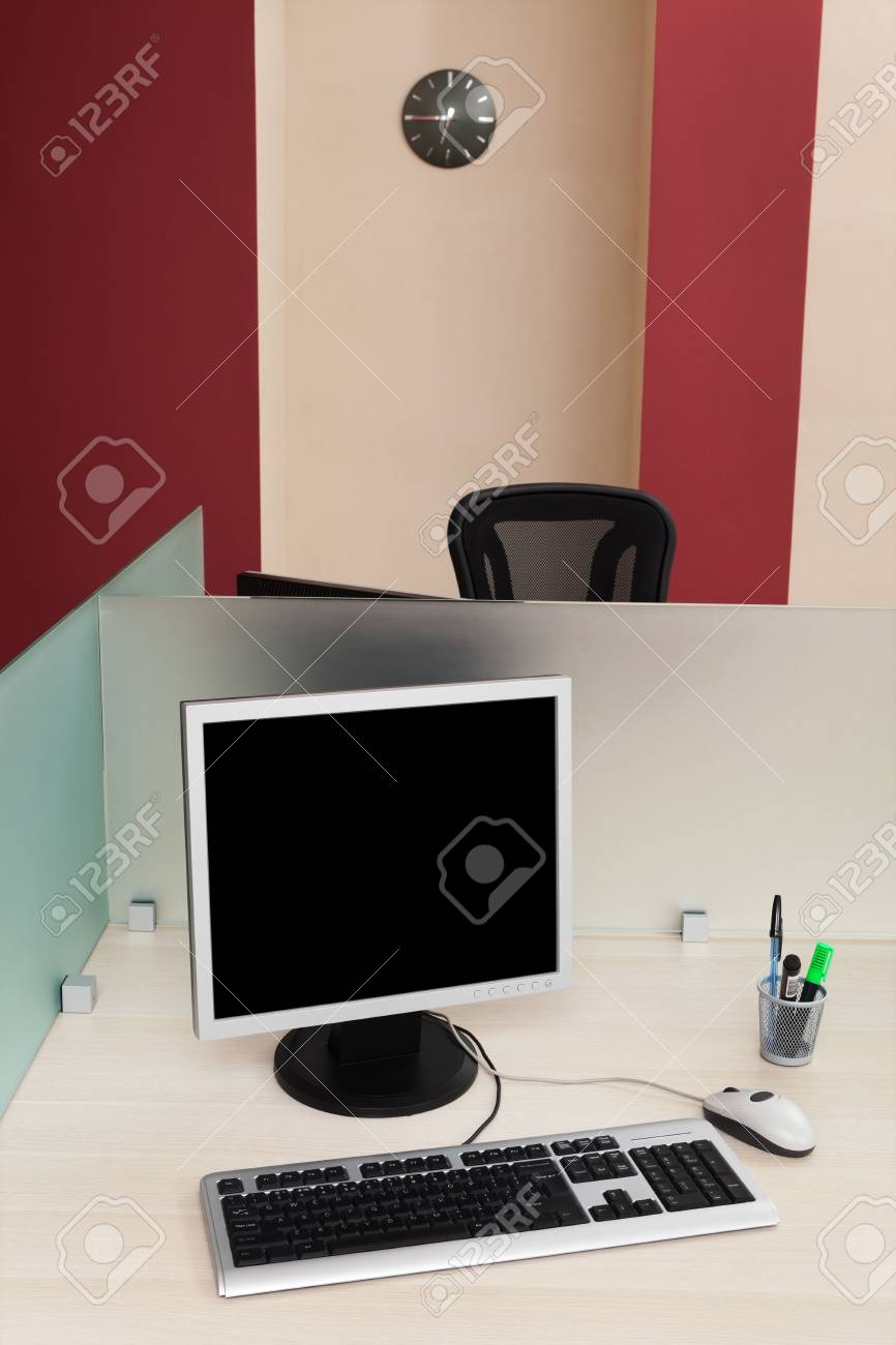 computers behind the glass in a modern office Stock Photo - 5251972
