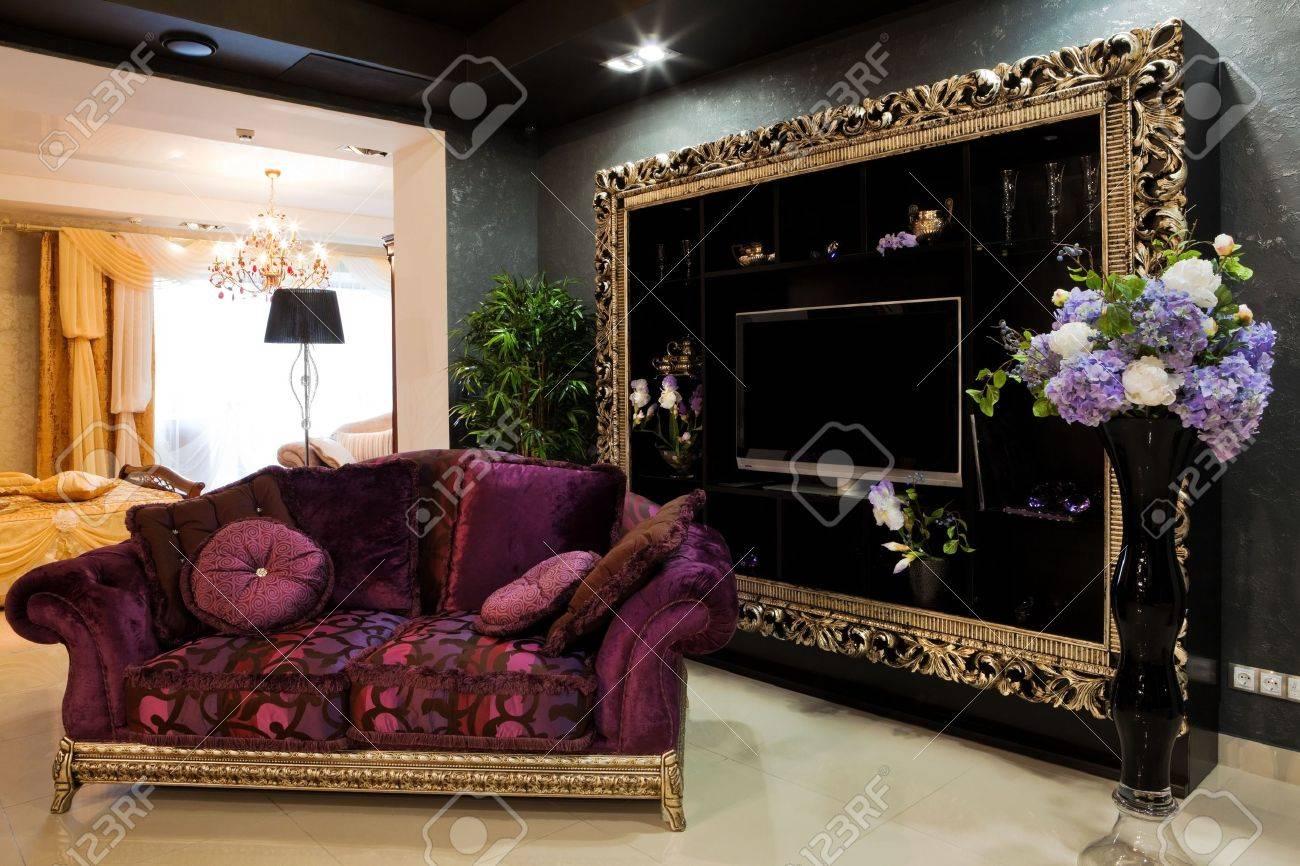Beautiful Sofa beautiful sofa at a window in a modern apartment stock photo