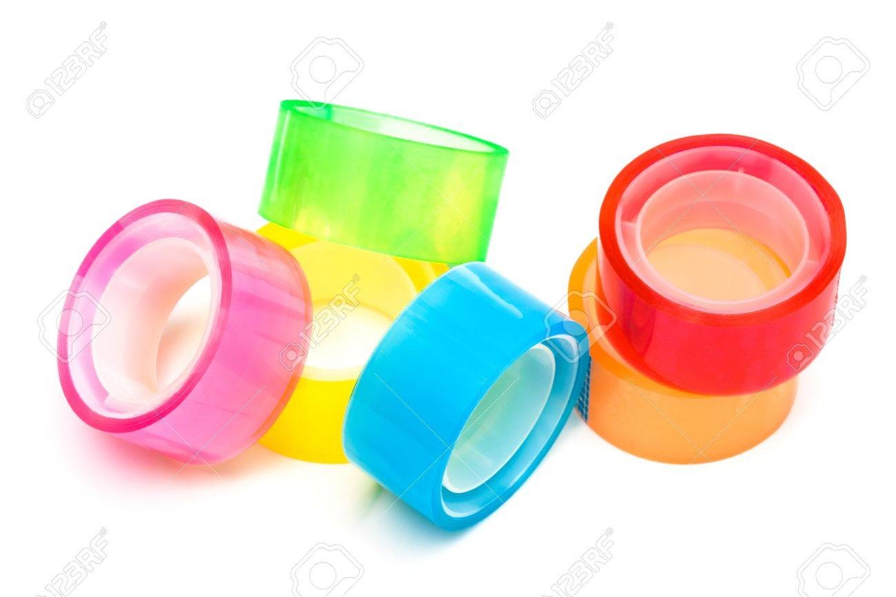 colored and transparent adhesive tape on a white background Stock Photo - 5615245