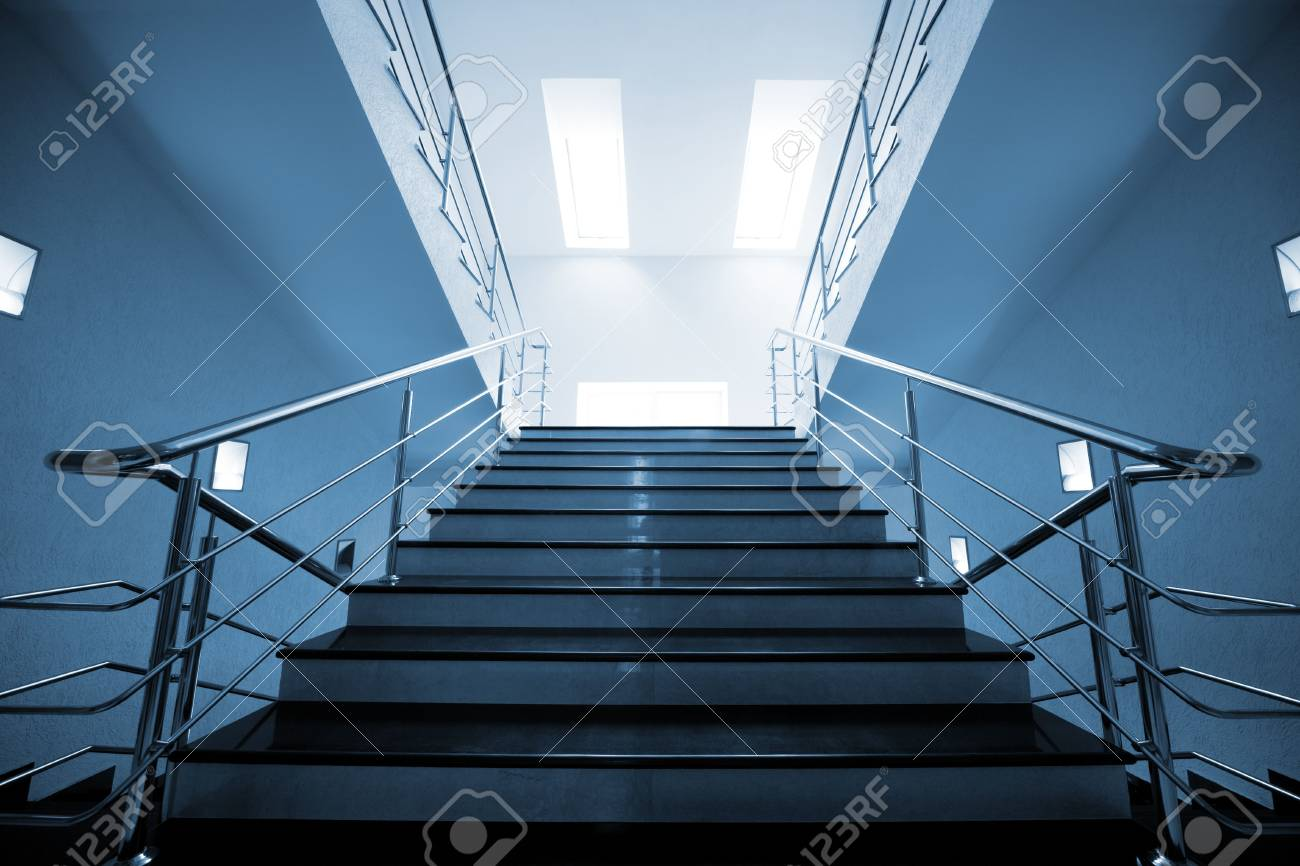 Marble staircase with a steel handrail in a modern building Stock Photo - 5636657