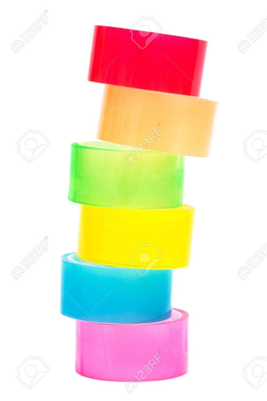colored and transparent adhesive tape on a white background Stock Photo - 5738104