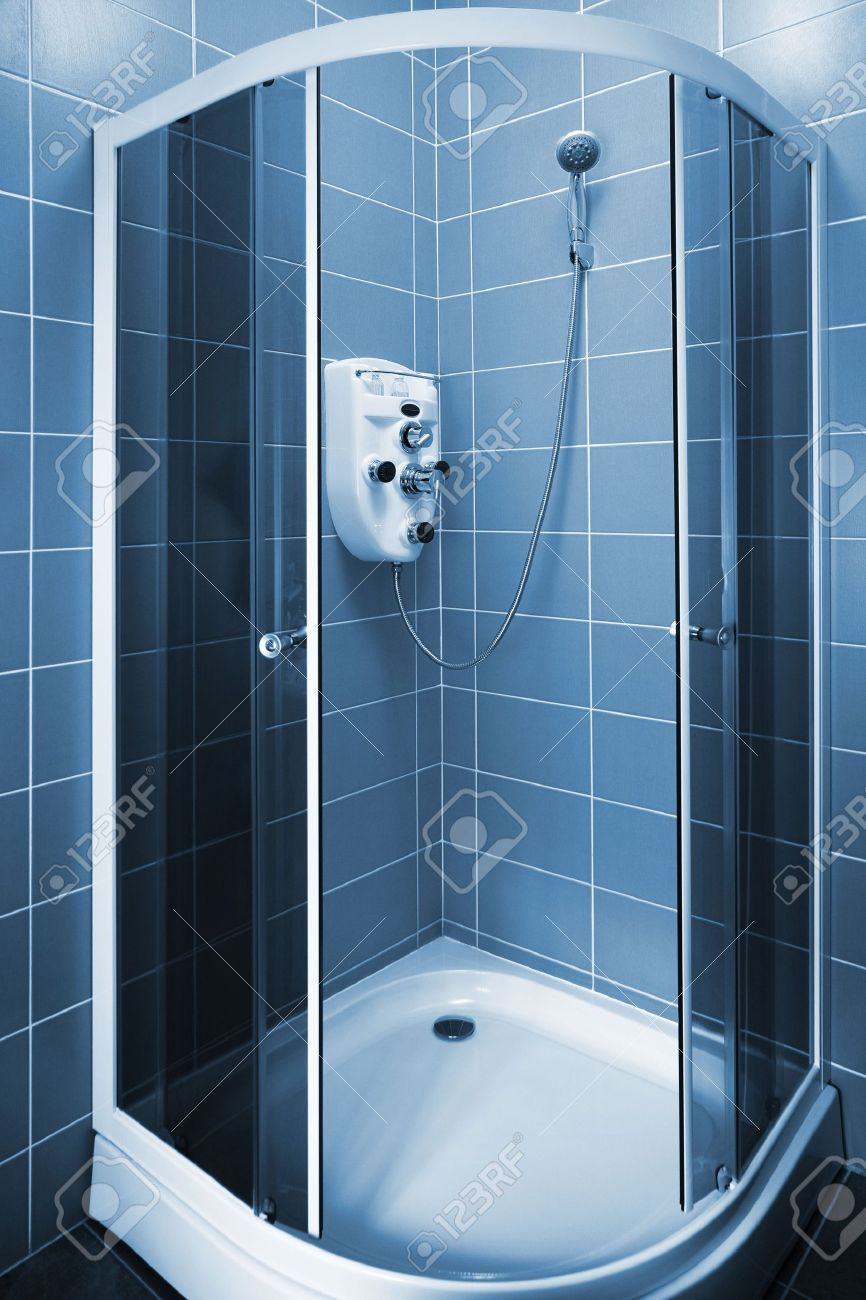 New Beautiful Shower Cubicle In A Modern Bathroom Stock Photo ...