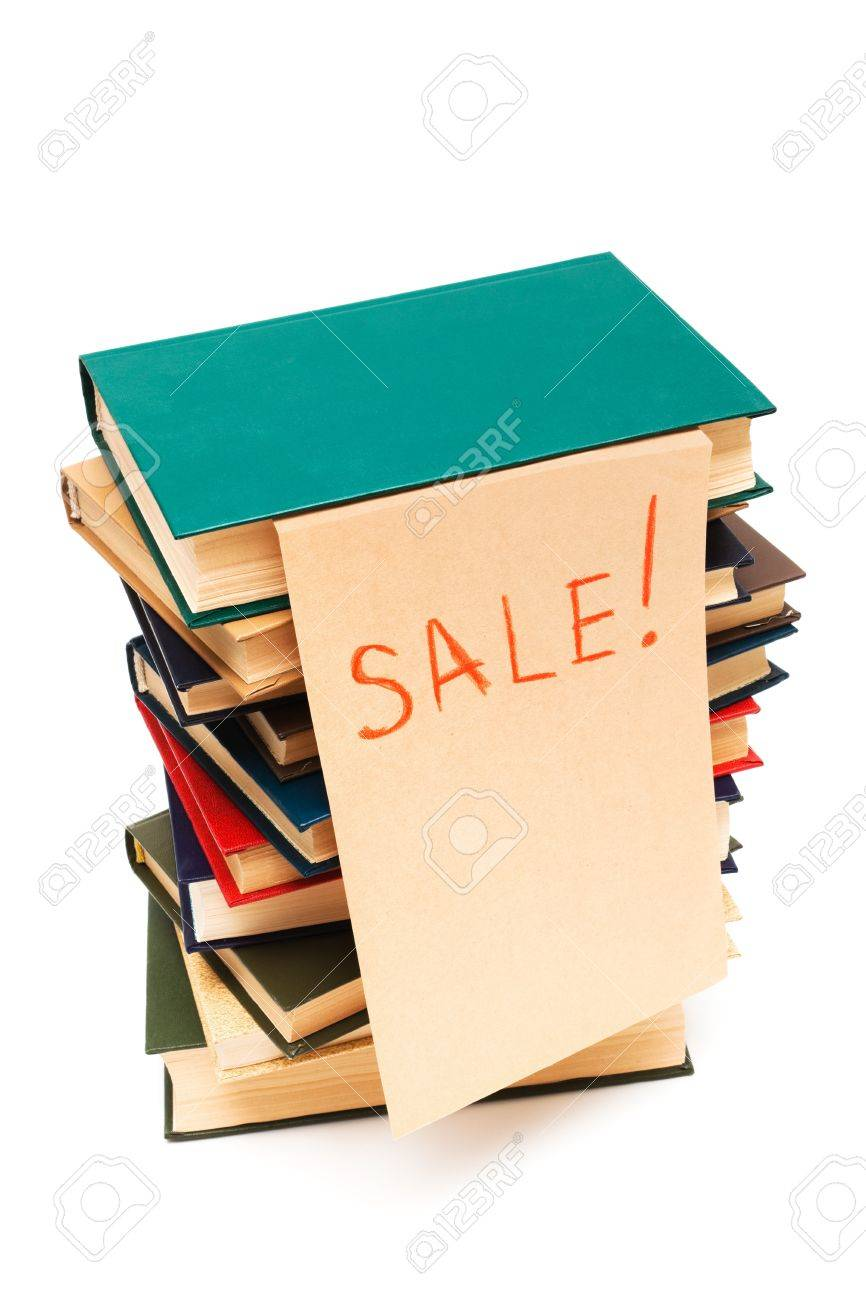 sale of old books on white background Stock Photo - 8081962