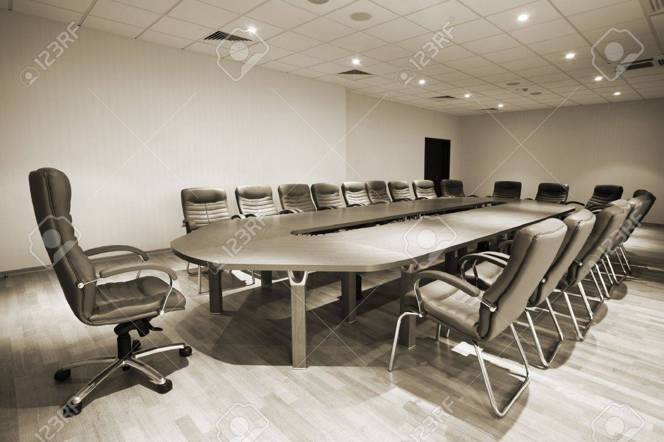 Large Table And Chairs In A Modern Conference Room Stock Photo