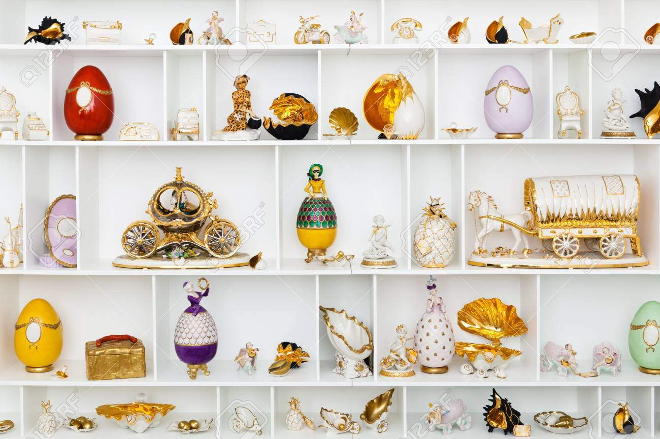 ceramic figurines on the white storefront Stock Photo - 9450921