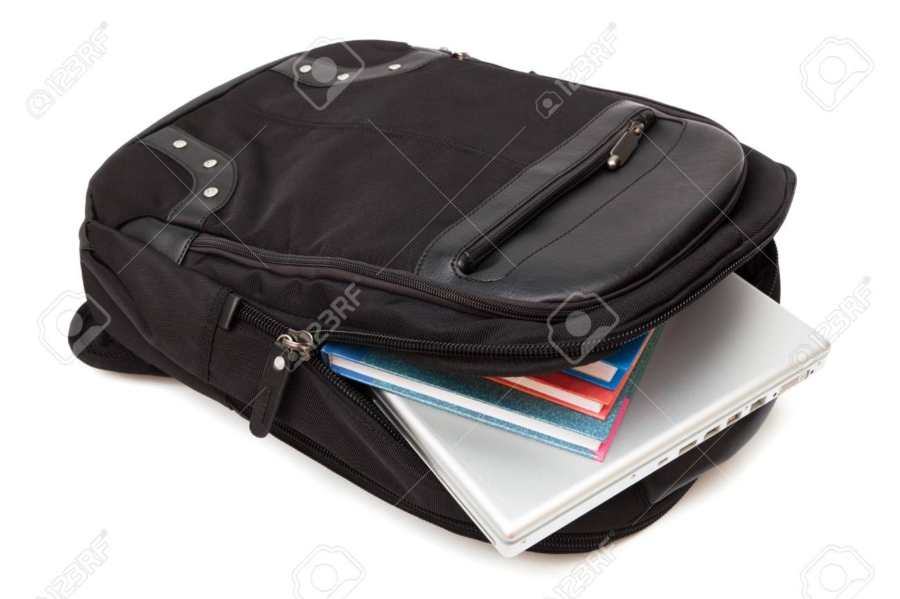 Backpack With A Laptop And Books On White