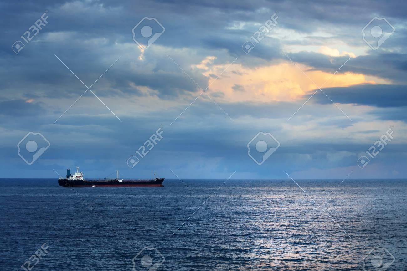 cargo ship in the ocean in the sky Stock Photo - 17033027