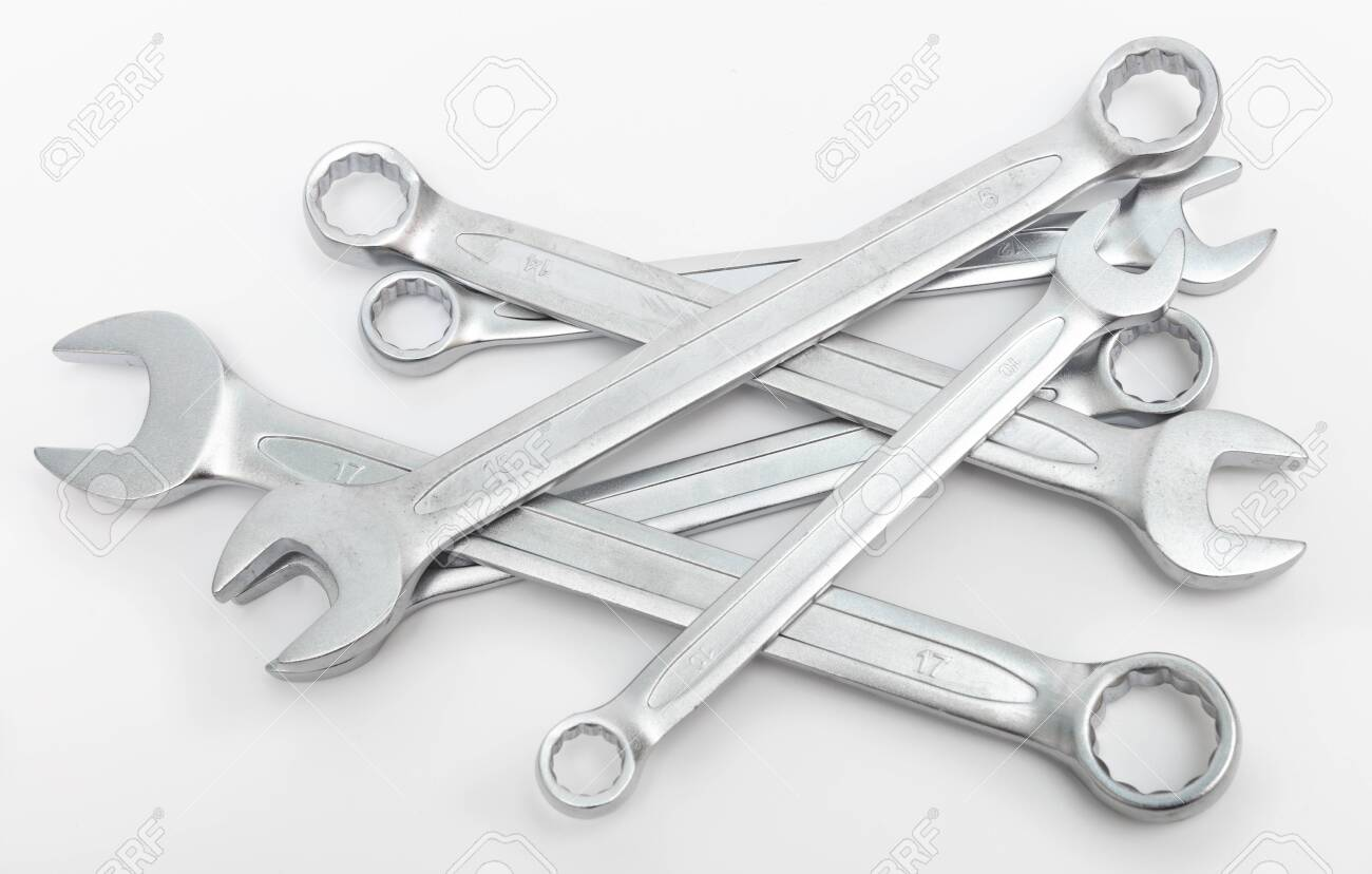 shiny wrenches on a white background - 140274064
