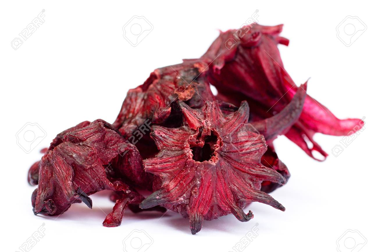 Dried Candied Hibiscus Flower On A White Background