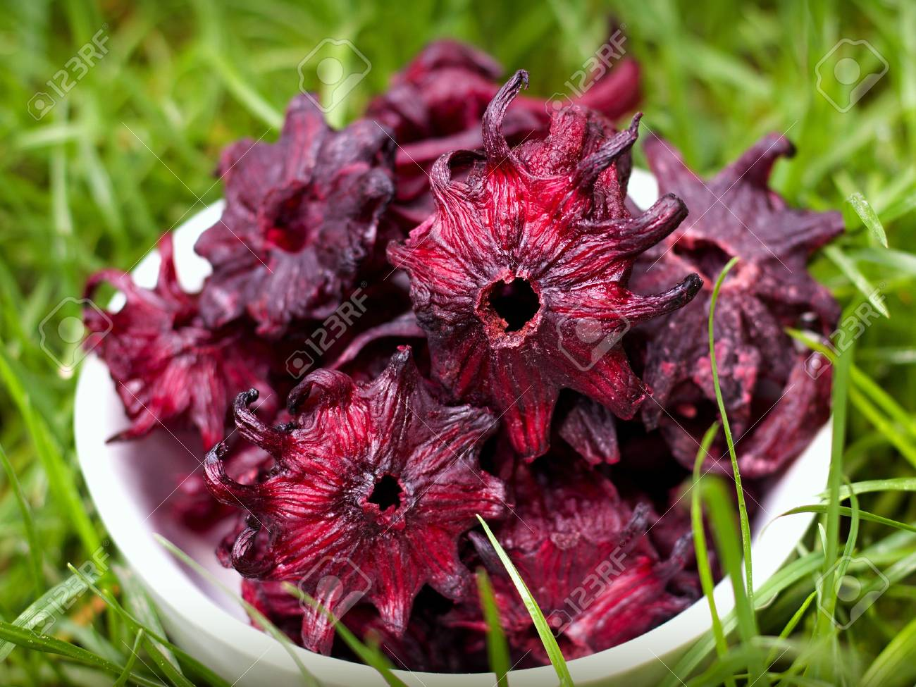 Dried Candied Hibiscus Flower In A Bowl