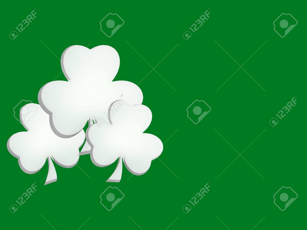 Three Lucky Shamrocks on Green Background Stock Photo - 798589