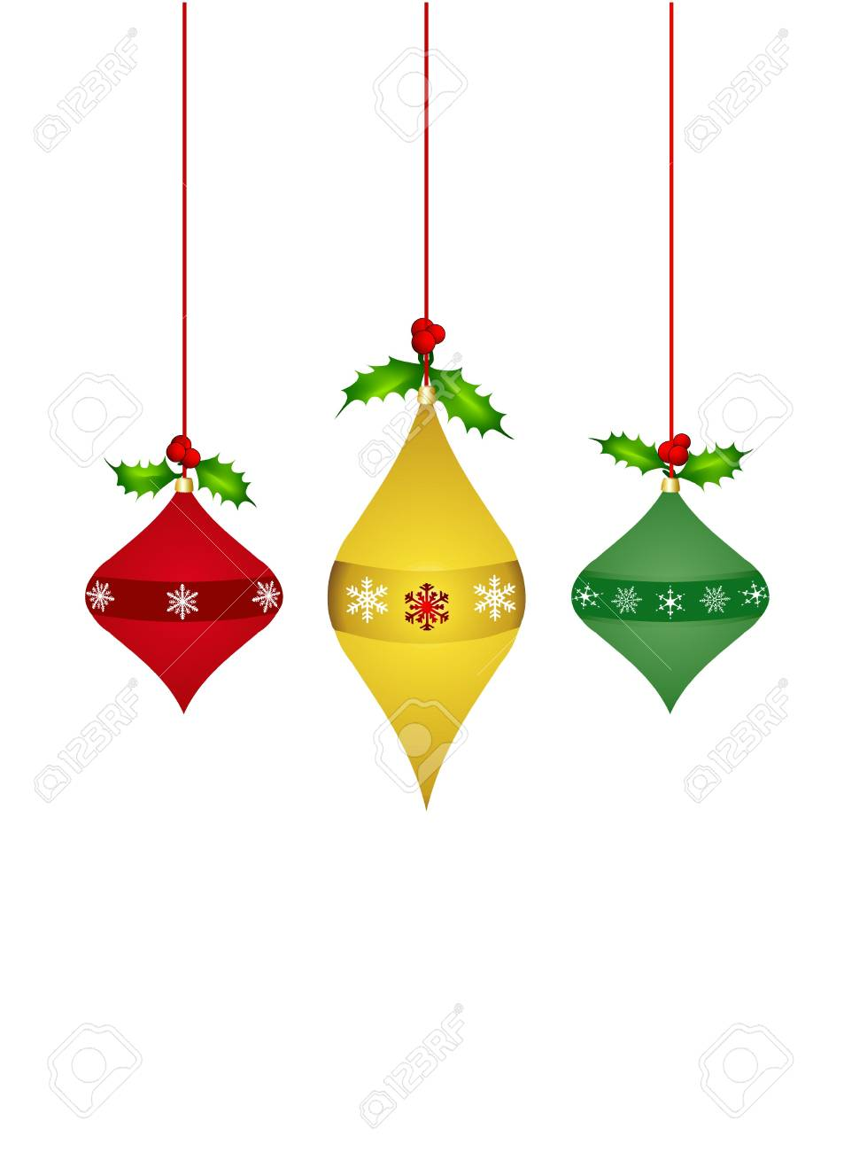 Holly christmas ornaments - Stock Photo Three Dangling Christmas Ornaments Decorated With Holly