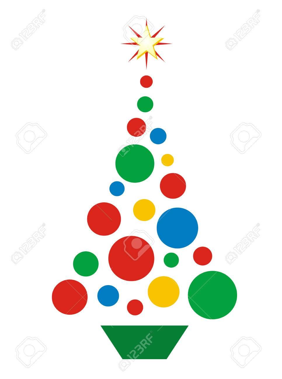 Vector Illustration Of Christmas Tree Shaped Of Circles. No ...