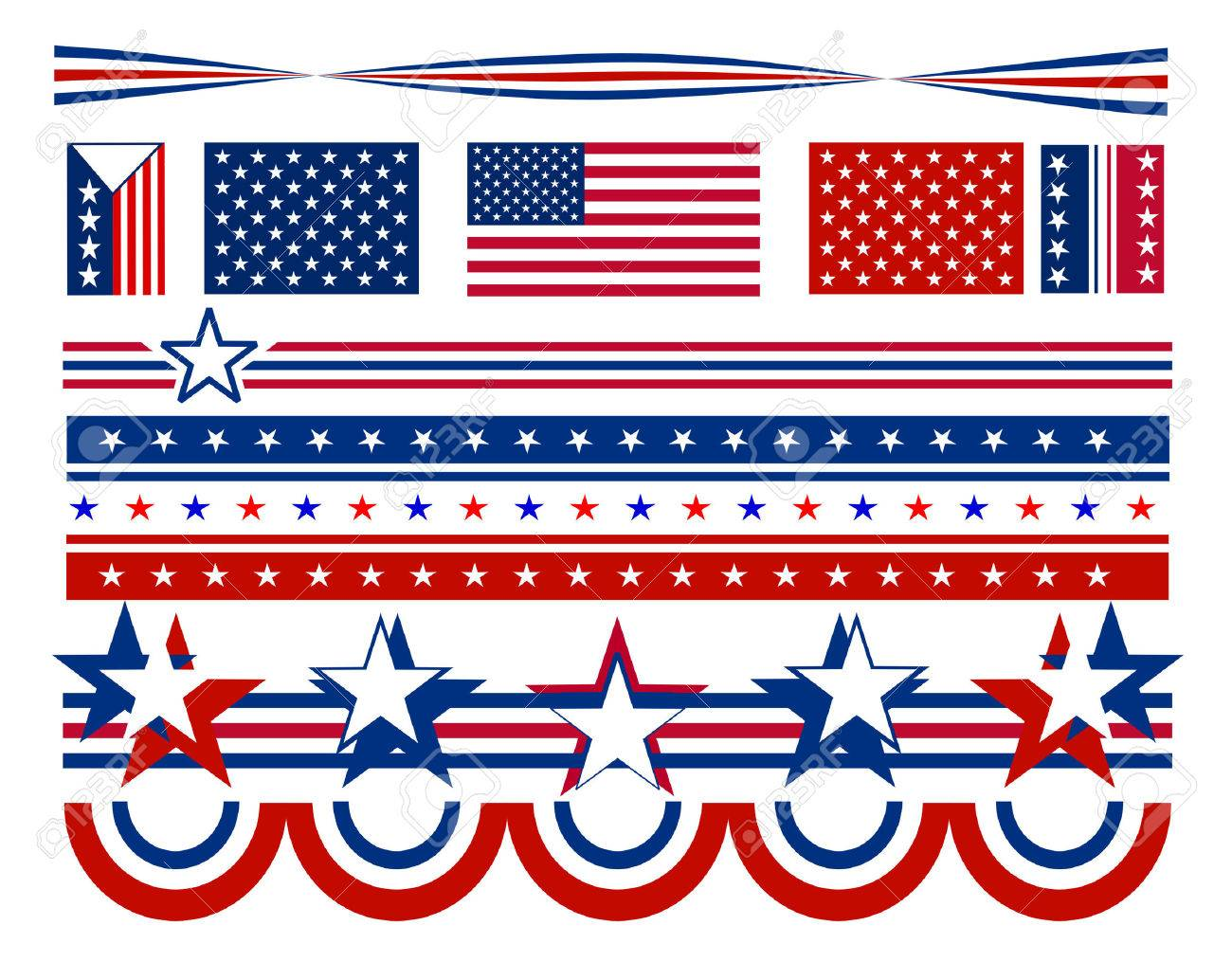 Patriotic Campaign Symbols And Decorations With Red White And Blue Stars  And Stripes. All Elements