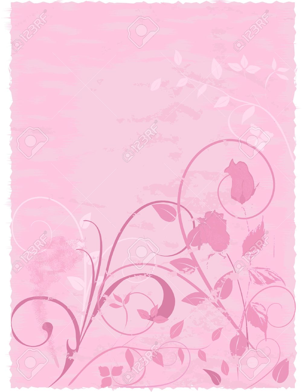 Abstract Floral Design With Roses On Textured Parchment Background. Note    Edges Are Deckled For