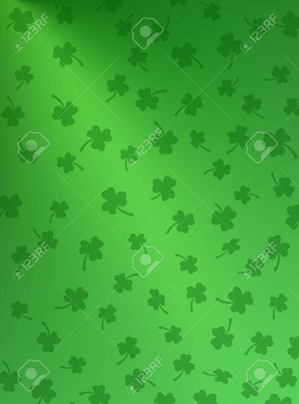 Shamrocks on gradient green background. Stock Photo - 2608300