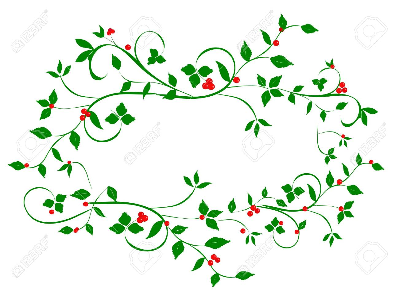 Christmas Vines.Vintage Christmas Holly Vines In Abstract Heart Shape Frame On