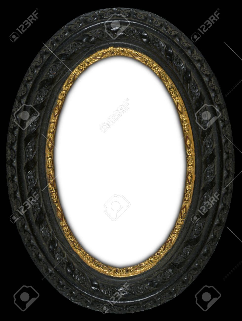 Tallado Antiguo Marco Oval Con Un Inserto De Anillo De Oro Alrededor ...