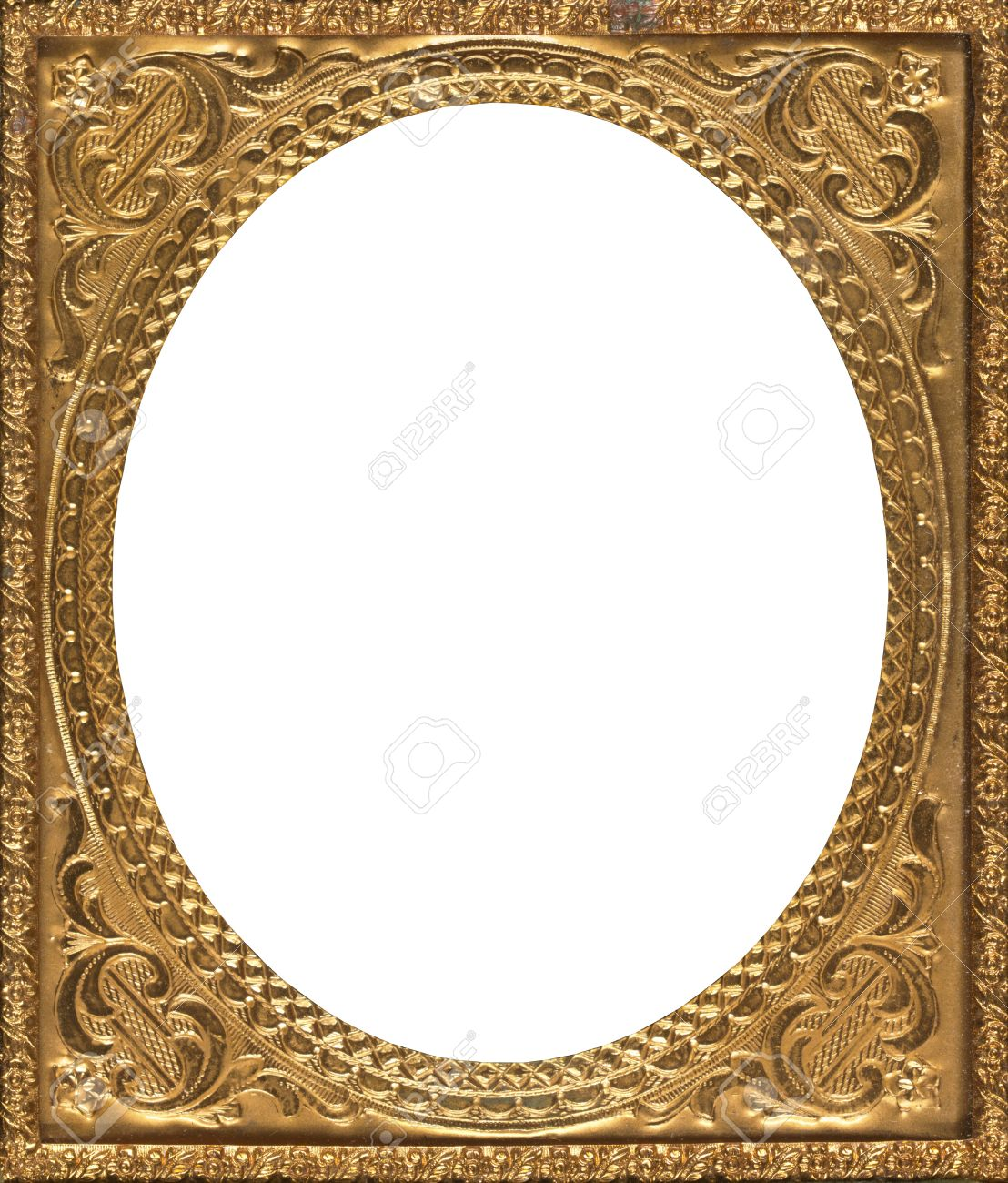 oval shaped antique gold frame mid 19th century stock photo 21076908