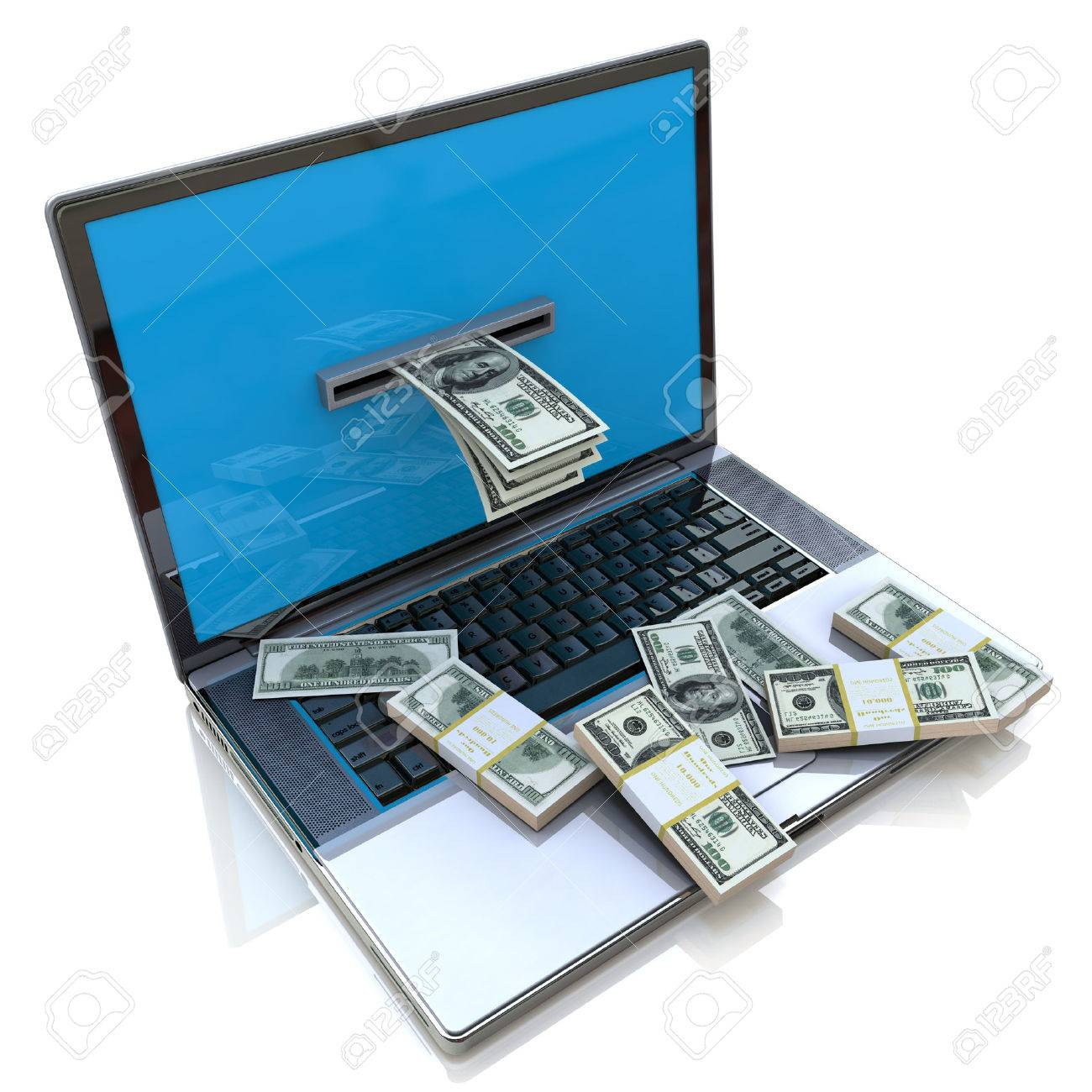 Making Money Online - Withdrawing Dollars From Laptop, Earnings ...