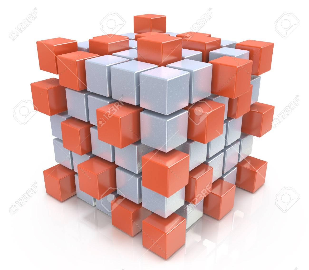 teamwork business concept - cube assembling from blocks - 34157110