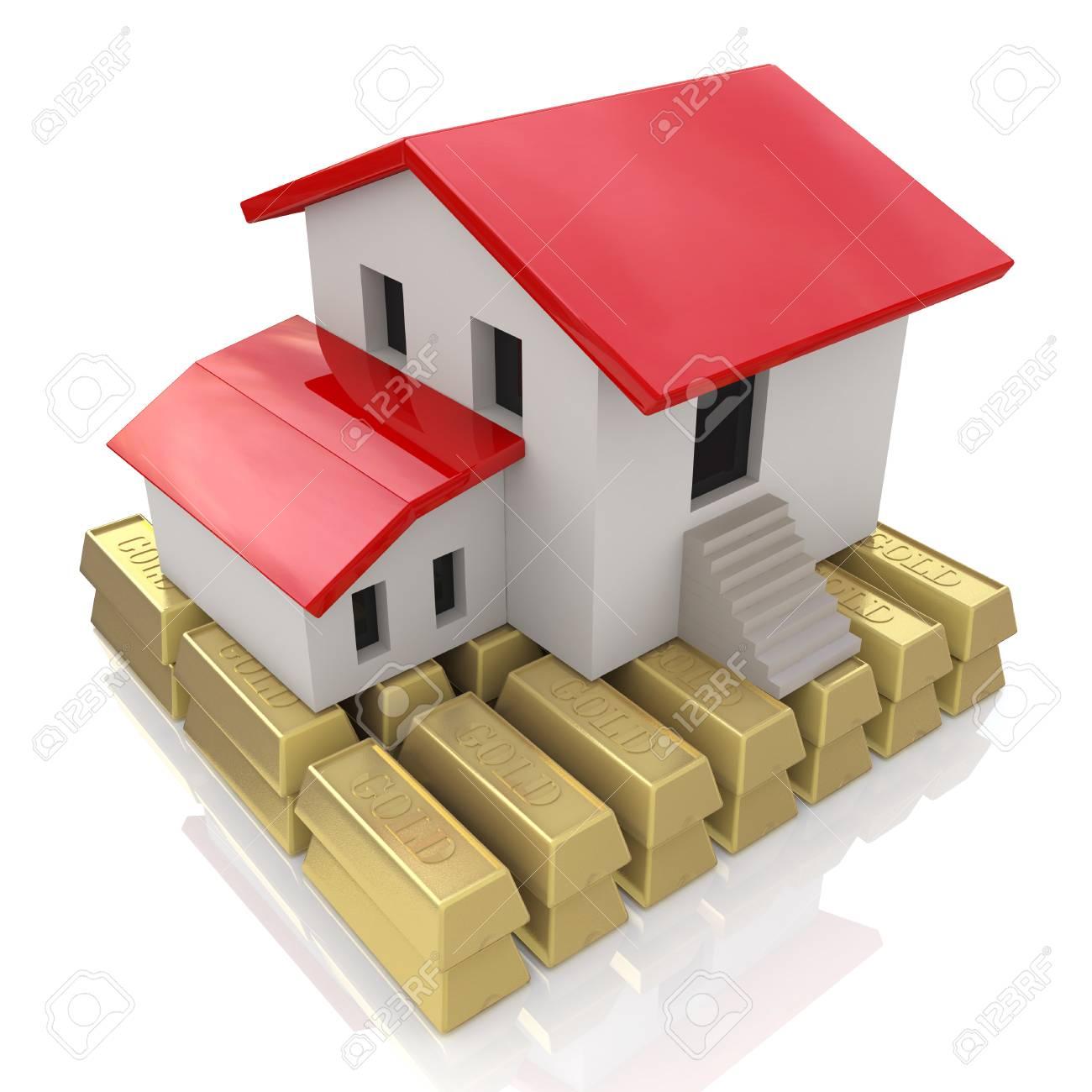 Haus Und Goldbarren, Hypotheken-Konzept In Der Gestaltung Der ...