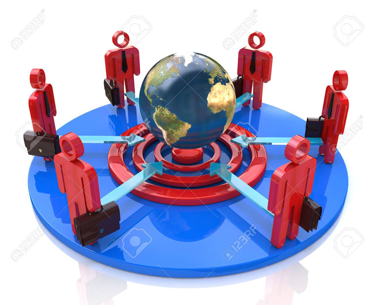 A group of competitors in a circle aiming for the same global goal in the design of information related to the business and the people - 82455210