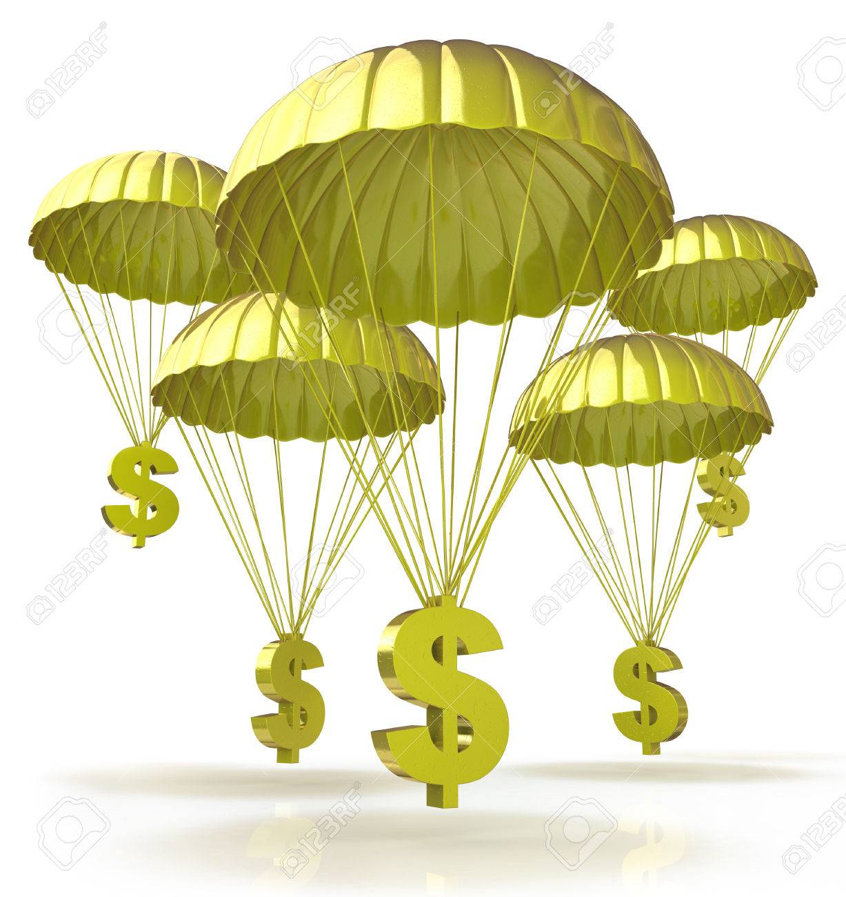Golden parachutes. Dollar signs parachuting down from the sky for the design of information related to business and economy - 82455220