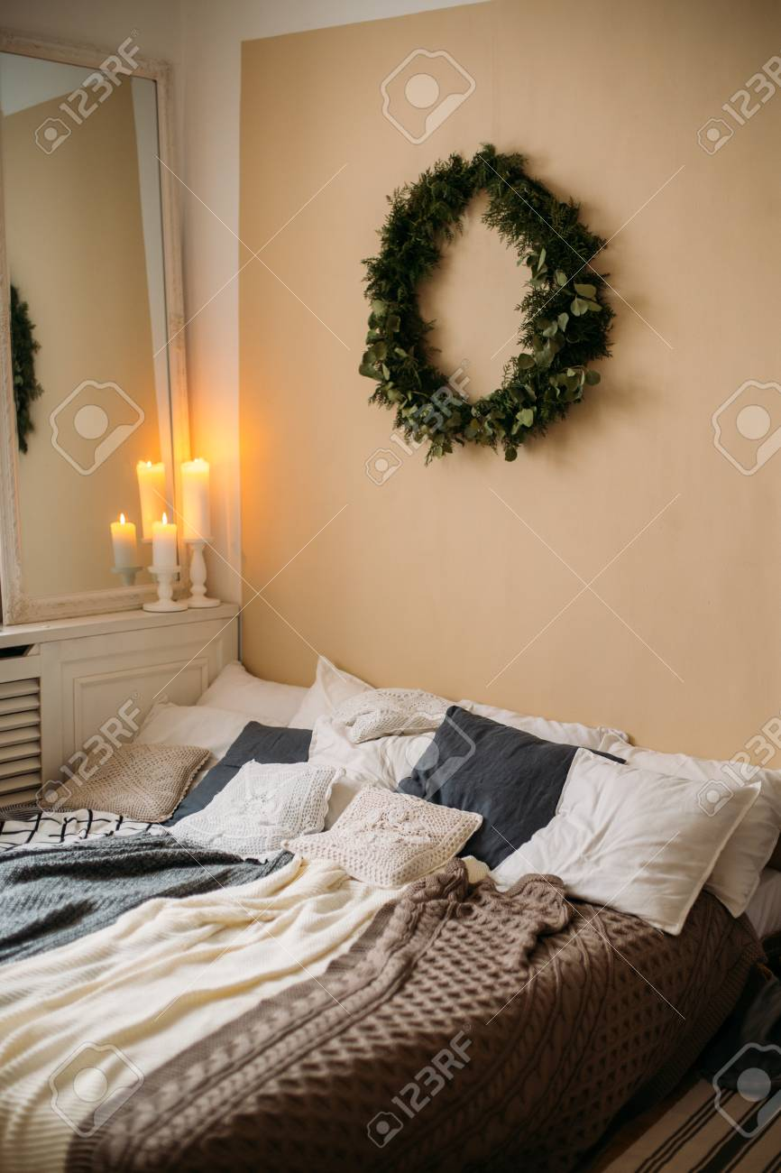 Bright Cozy Modern Bedroom With Holiday Decoration Bed With