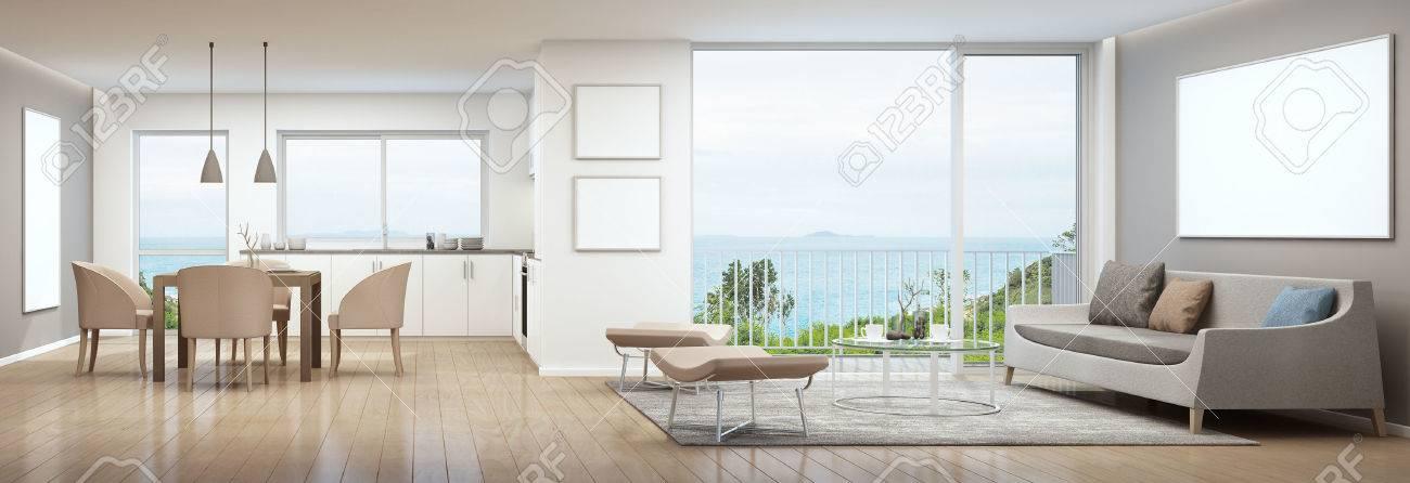 Bilderrahmen Küche | Wohnzimmer Esszimmer Und Kuche Im Luxushaus Mit Weisser Bilderrahmen