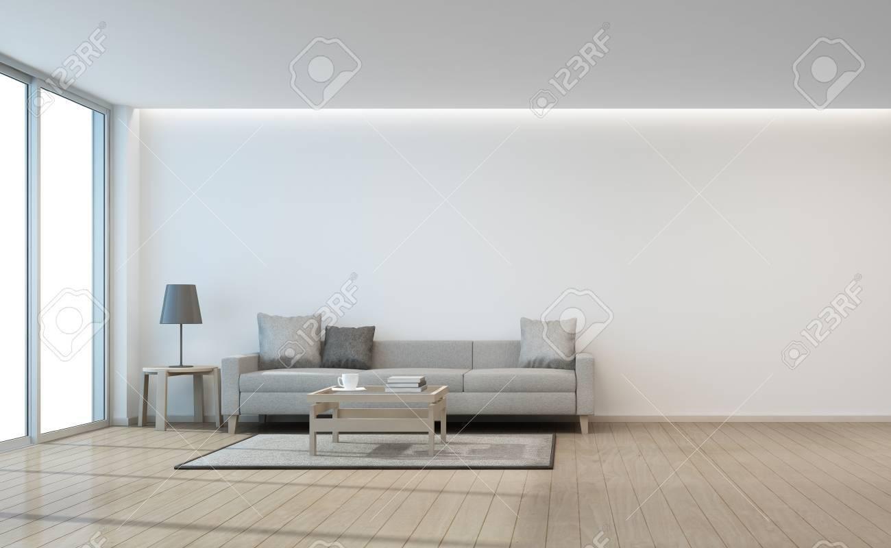 Sofà e tavolino da salotto vicino alla porta di vetro nella  rappresentazione bianca del salone 3d della parete