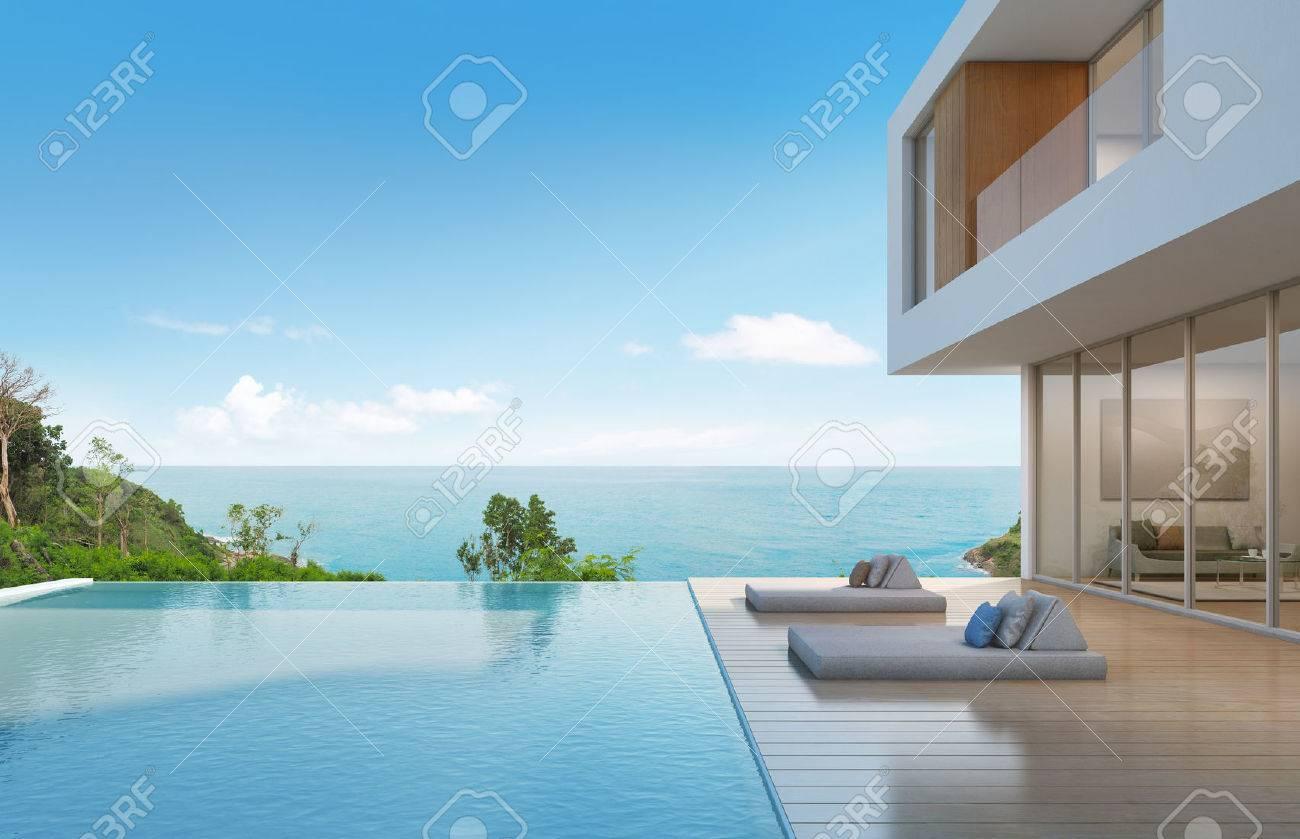casa de playa con piscina de diseño moderno - representación 3d