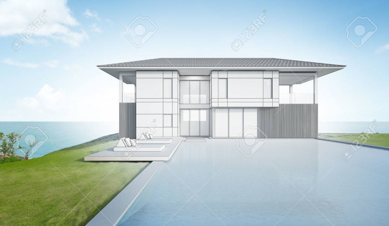 Sketch Design Of Modern Beach House And Pool - 3d Rendering Stock ...