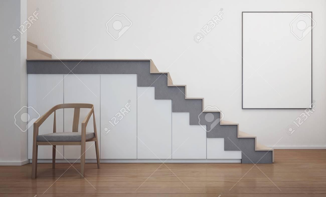 Interieur De La Maison Moderne Avec Escalier Et Cadre Photo Blanc