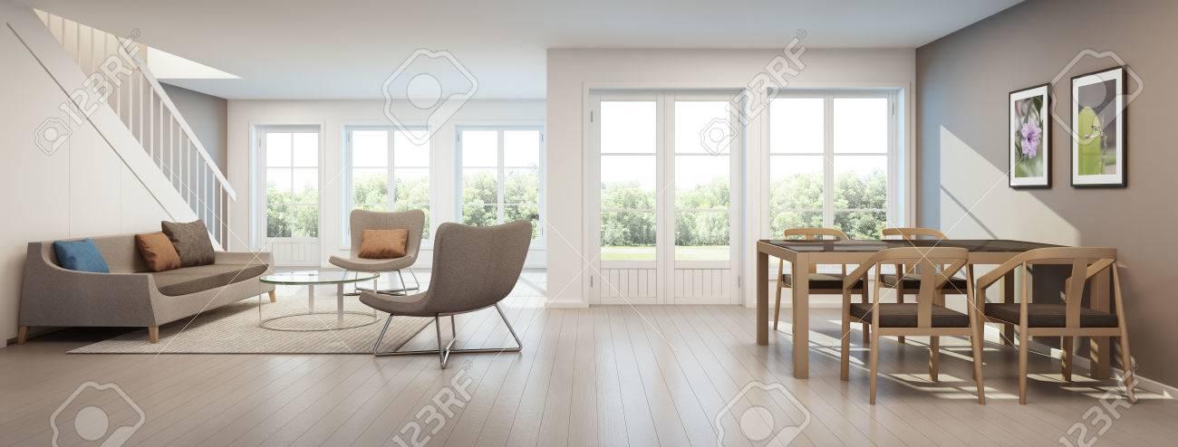 Salon Et Salle à Manger Dans La Maison Moderne, L\'intérieur De La ...