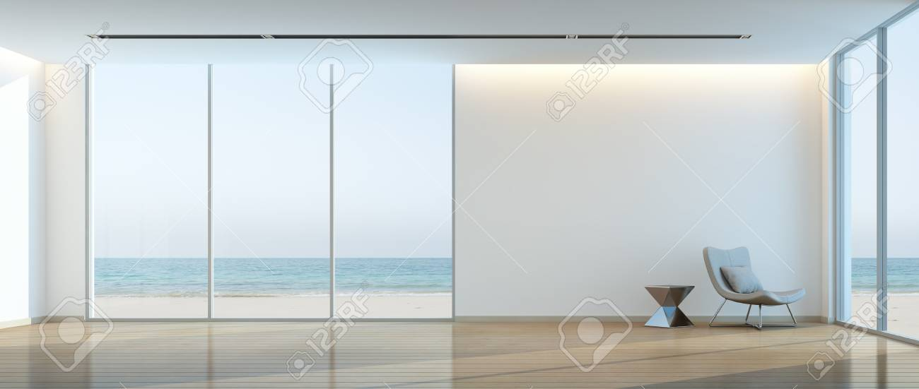 Modern Beach House Interior, Relaxing Sea View Living Room   3d Rendering  Stock Photo