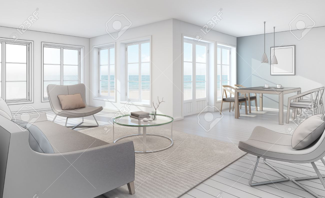 Sketch Design Of Sea View Interior In Modern Beach House 3D .