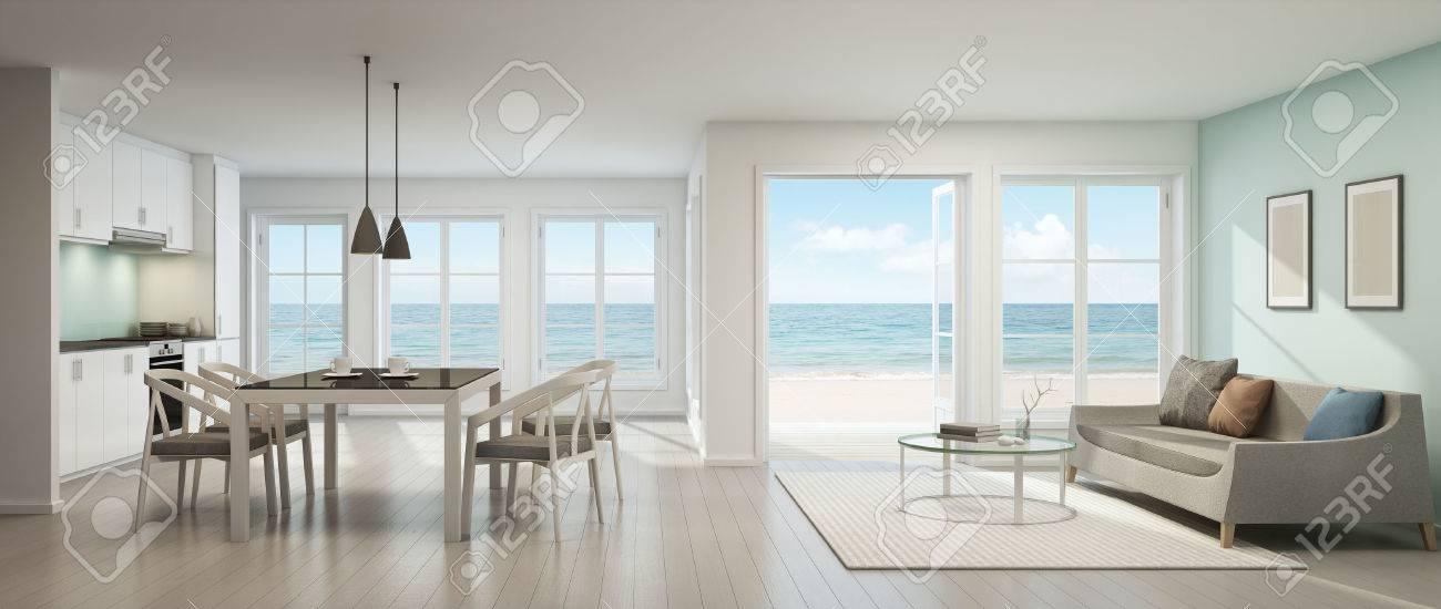 Vista Mare Soggiorno, Sala Da Pranzo E Cucina, Casa Sulla Spiaggia ...