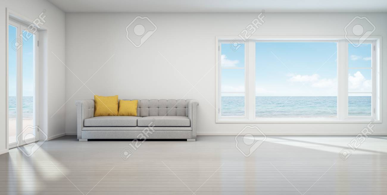 Sea View Living Room Beach House With White Vintage Interior