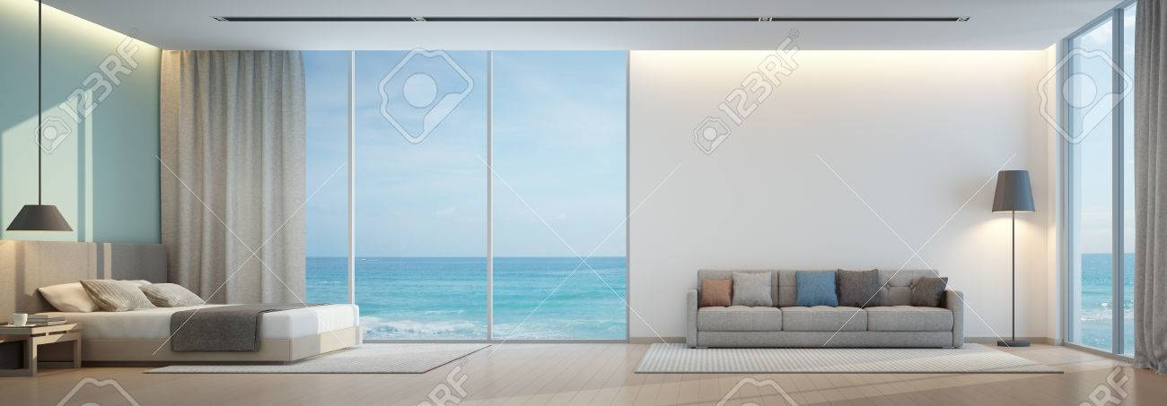 Sea View Bedroom And Living Room In Luxury Beach House 3d Rendering Stock Photo Picture And Royalty Free Image Image 70293940