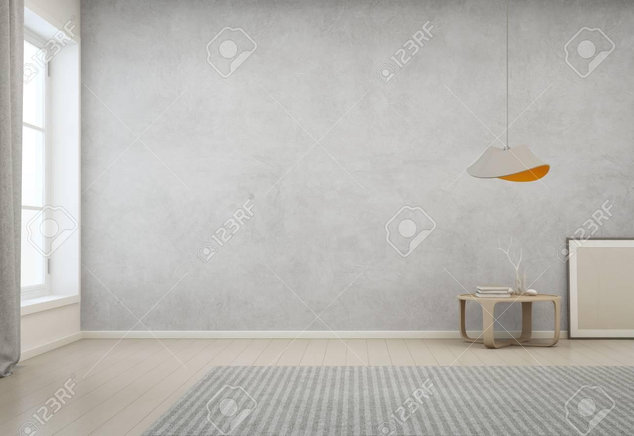 Raum Mit Leerem Betonmauerhintergrund Im Modernen Haus, Minimale ...