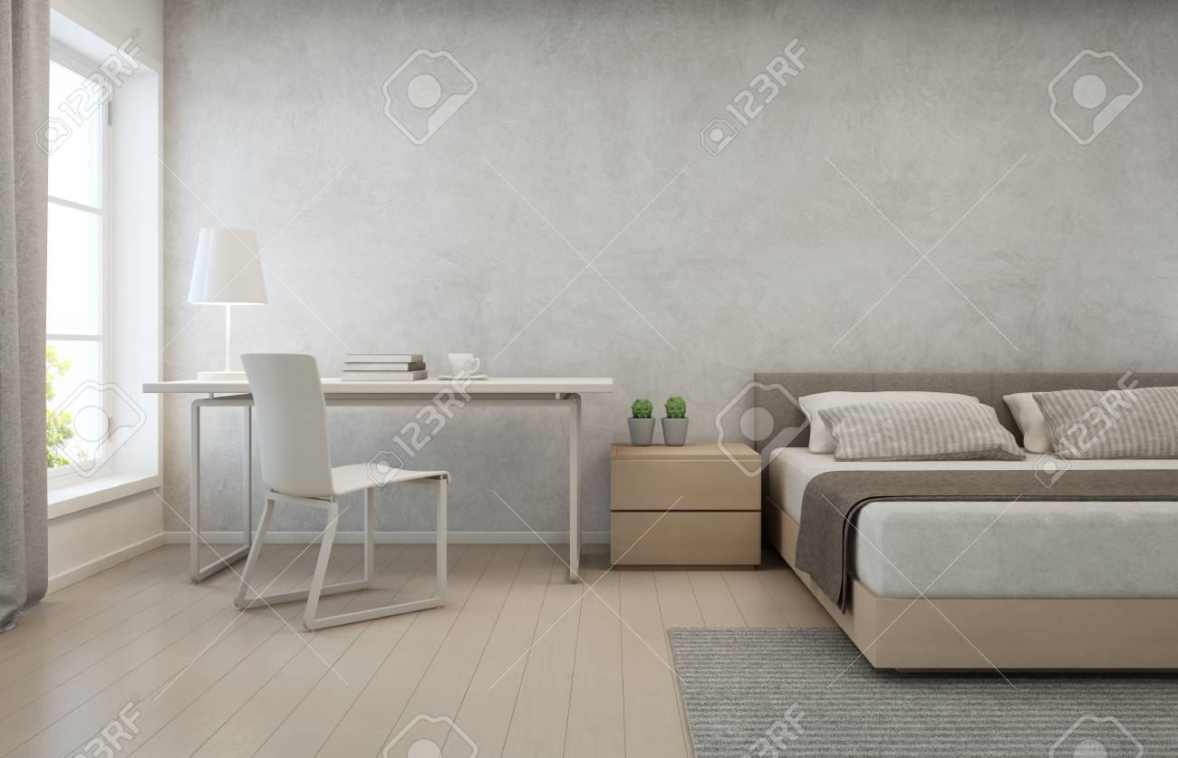 Bedroom With Concrete Wall Background In Modern House Loft Interior