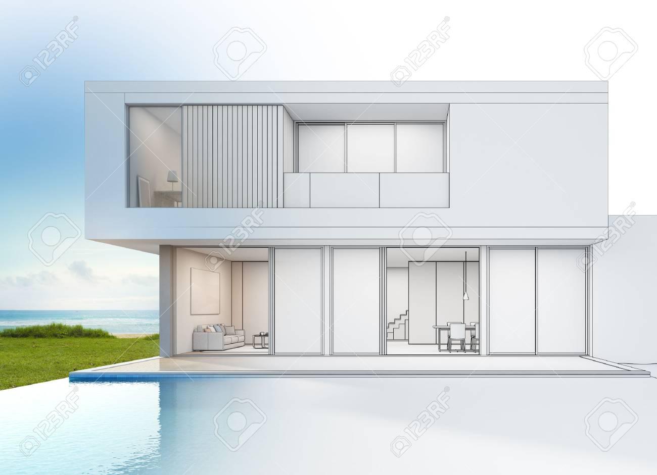 Moderne Luxus-Strand-Haus Mit Meerblick Schwimmbad, Sketch Design ...