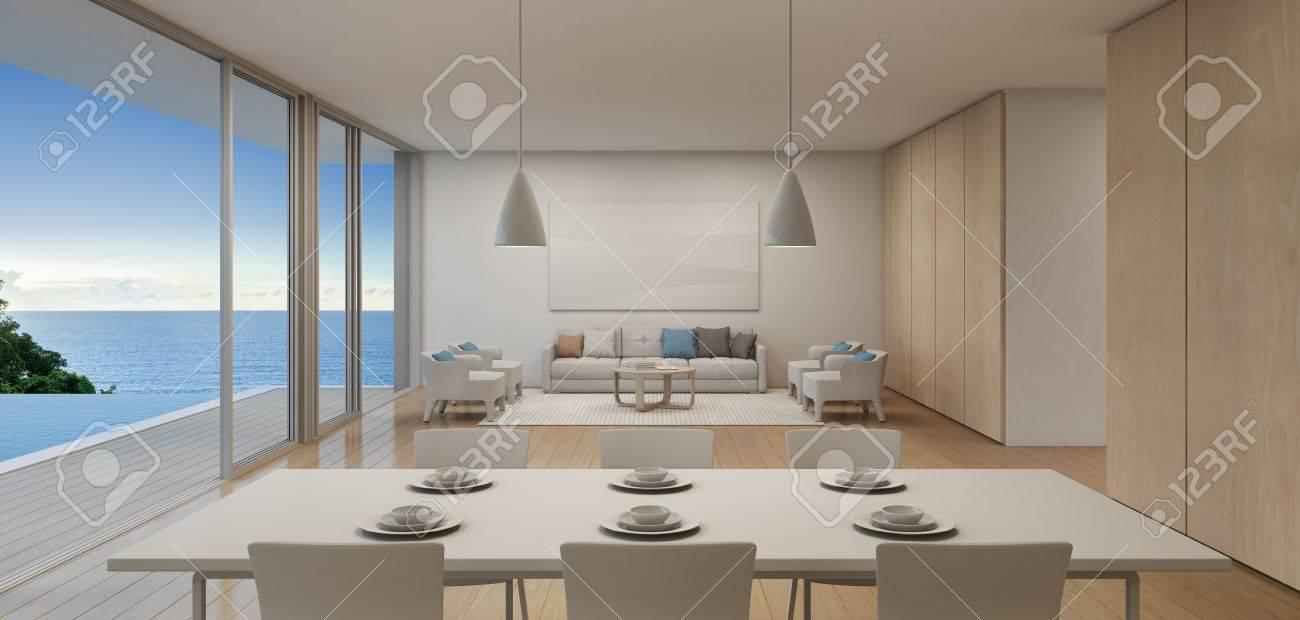 Comedor Y Salón De Lujo Playa Casa Con Vista Mar Piscina En Moderno ...