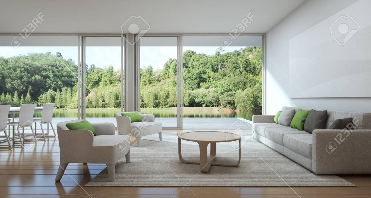 Ess Und Wohnzimmer Des Luxushauses Mit Seeansicht In Modernem