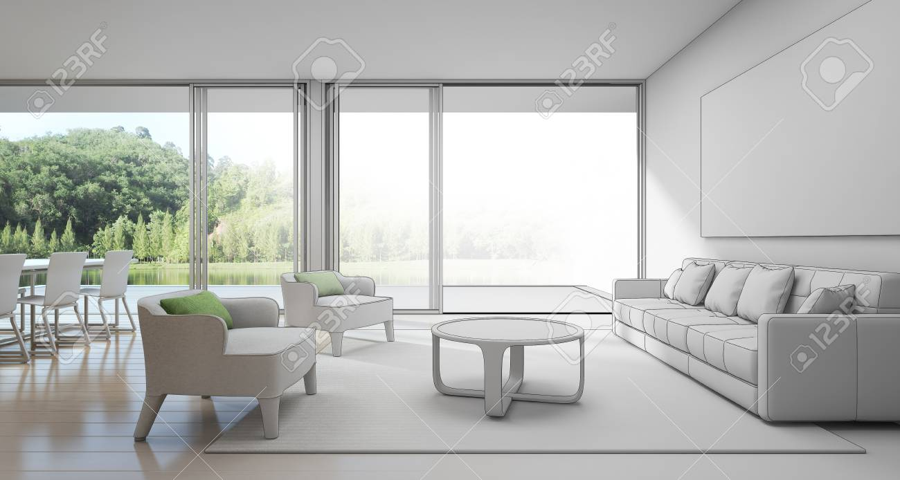 Dining And Living Room In Luxury House With Lake View Sketch Design Of Modern Vacation