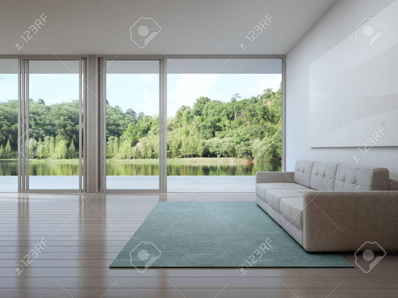 Wohnzimmer Der Luxus-Haus Mit Blick Auf Den See In Modernem Design ...