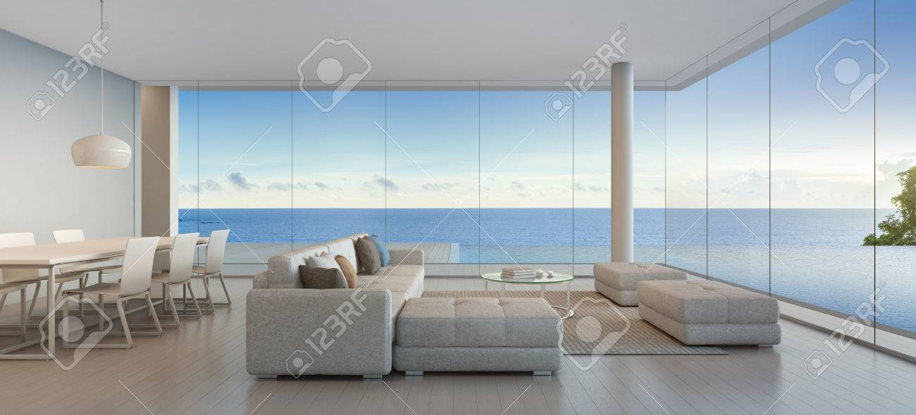 Dining And Living Room Of Luxury Beach House With Sea View Swimming Pool In  Modern Design