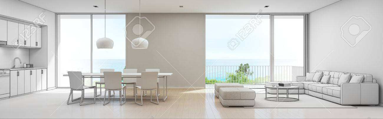 Sea View Kitchen, Dining And Living Room Of Luxury Beach House ...