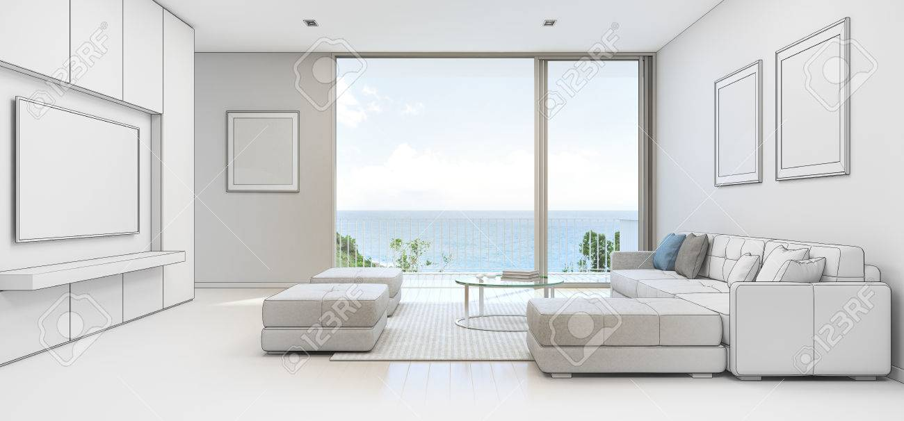 Sea View Living Room With Terrace In Luxury Beach House, Sketch ...